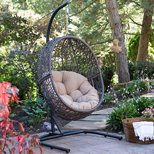 Resin Wicker Hanging Egg Chair - Espresso - EK CHIC HOME