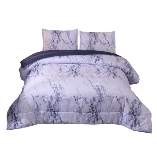 Marble Comforter Set Queen with 2 Matching Pillow Shams Brushed Quilt Bedding Sets - EK CHIC HOME