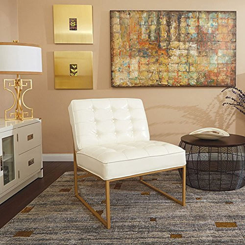 Armless Accent Chair, White Faux Leather with Gold Base
