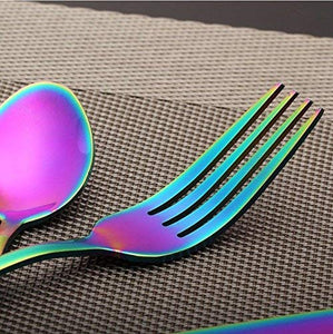 24-Piece Rainbow Color Flatware Set, Stainless Steel Titanium Colorful Plated Set - EK CHIC HOME
