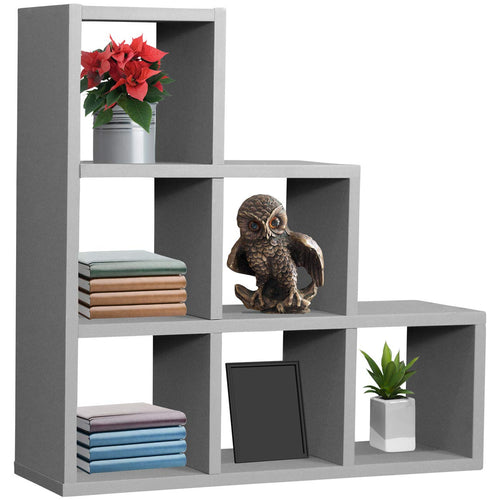 Sorbus Floating Shelf — Floating Shelf Stepped 6 Cubby — Stair Wall Shelf with 6 Openings - EK CHIC HOME