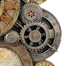 Load image into Gallery viewer, Gears of Time Steampunk Wall Clock Sculpture, Medium 17 Inch, Polyresin - EK CHIC HOME