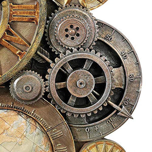 Gears of Time Steampunk Wall Clock Sculpture, Medium 17 Inch, Polyresin - EK CHIC HOME
