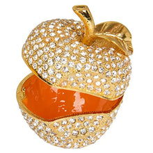 Load image into Gallery viewer, Hand Painted Enameled Gold Apple Diamond Decorative Hinged Jewelry Trinket Box - EK CHIC HOME