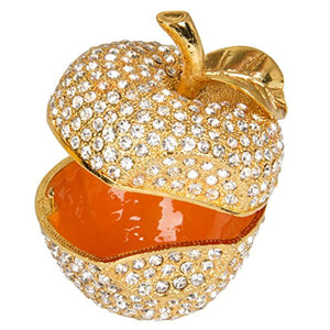 Hand Painted Enameled Gold Apple Diamond Decorative Hinged Jewelry Trinket Box - EK CHIC HOME
