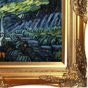 Van Gogh Starry Night Painting with Victorian Gold Frame Gold Finish Oil Painting, - EK CHIC HOME