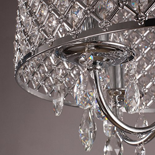 4 Lights Pendant with Crystal Drops in Round - EK CHIC HOME