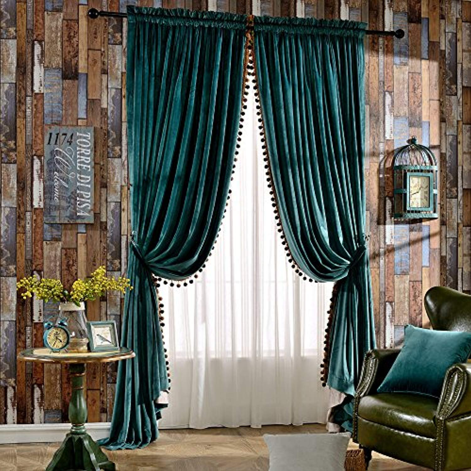 Luxury Pom Poms Velvet Curtains For Bedroom Living Room Thermal Insulated Rod Pocket Drapes 52x84 Inch