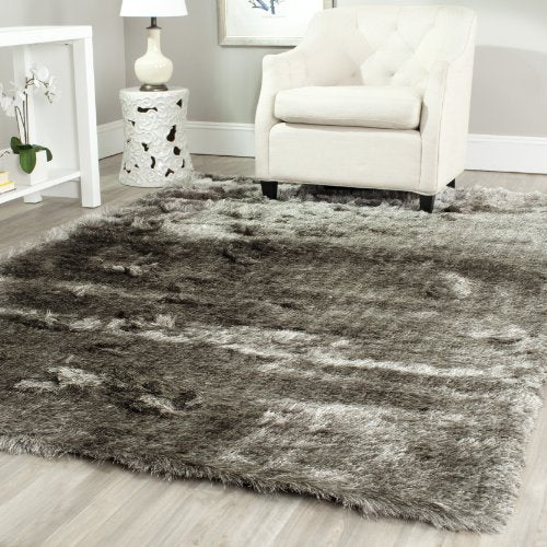Paris Shag Collection Silver Polyester Area Rug (5' x 8') - EK CHIC HOME