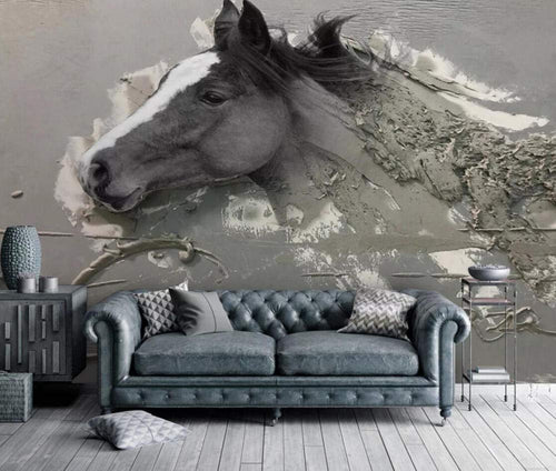 Wall Mural 3D Wallpaper Embossed Abstract Horse - EK CHIC HOME