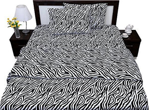 Zebra Print 4PCs Bed Sheet Set Queen Size Genuine 600-Thread-Count - EK CHIC HOME