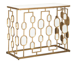 Majaci Console Table - Contemporary - Antique Gold Metal - Mirrored Glasstop and Accents - EK CHIC HOME