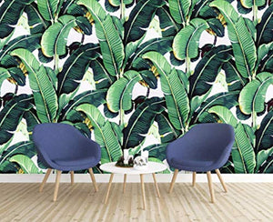 Banana Leaf Wallpaper Tropical Leaves Natural Pattern Wall Art Exotic - EK CHIC HOME