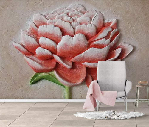 Wall Mural 3D Wallpaper Embossed Minimalist Red FlowersWall Decoration Art - EK CHIC HOME