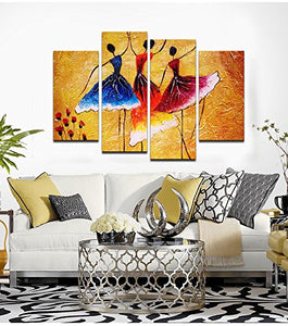 "Abstract Spanish Dancer Painting Prints Wall Decor 4 Panels Women 48""W x 32""H - EK CHIC HOME"