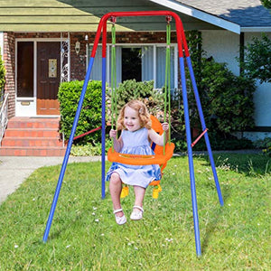Toddler Swing Set, High Back Seat with Safety Belt, A-Frame Outdoor Swing Chair, Metal Swing Set for Backyard - EK CHIC HOME