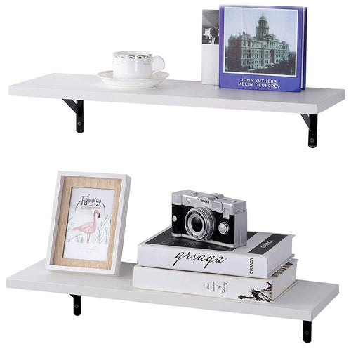Wall Mounted Floating Shelves, Set of 2, Display Ledge, Storage Rack for Room/Kitchen/Office - White - EK CHIC HOME