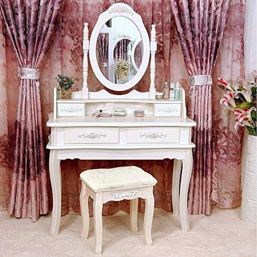 Vanity Table Set and Cushioned Stool with 4 Drawers & 360° Rotation - EK CHIC HOME