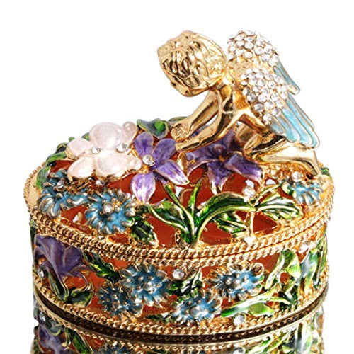 Angel Flower Box Hand-Painted Trinket Box Figurine Collectible Ring Holder with Gift Box - EK CHIC HOME