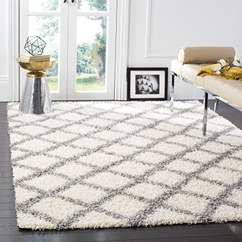 Dallas Shag Collection Ivory and Grey Area Rug (8' x 10') - EK CHIC HOME