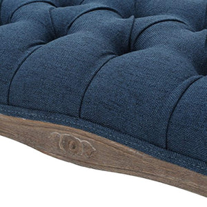 Tassette Tufted Royal Blue Fabric Bench - EK CHIC HOME