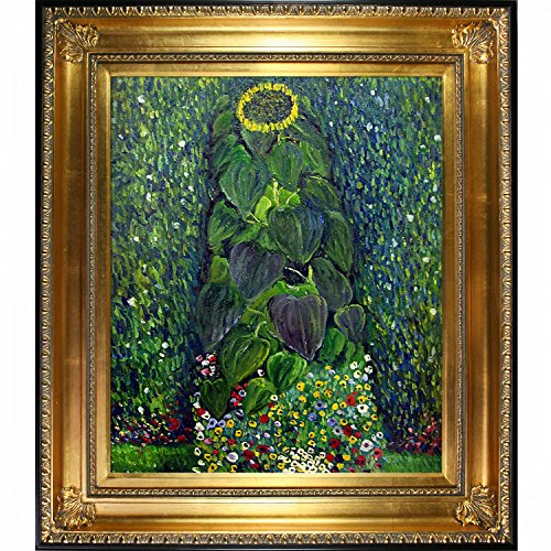 Sunflower by Klimt with Regency Gold Frame and Gold Finish with Black Edge - EK CHIC HOME