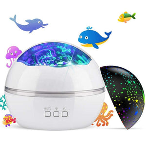 Night Light Projector, Ocean Constellation Night Lights Projector Lamp, Rotating and Colorful Mood Nursery Soother - EK CHIC HOME