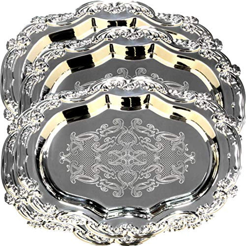 (Pack of 4) 1Floral Shape Antique Decorative Style Mirrored Tray - EK CHIC HOME