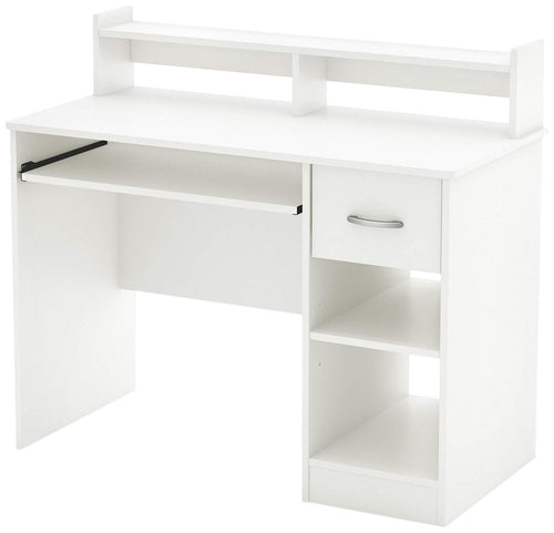 White Desk with Keyboard Tray, White - EK CHIC HOME