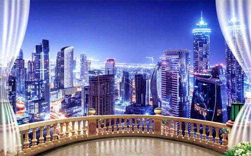 Wall Mural 3D Wallpaper Blue Night View, City Building Wall Decoration Art - EK CHIC HOME
