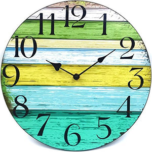 "12"" Vintage Rustic Country Tuscan Style Wooden Decorative Round Wall Clock - EK CHIC HOME"