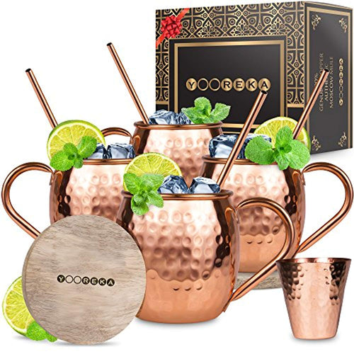 Moscow Mule Copper Mugs Set : 4 16 oz. Solid Genuine Copper Mugs Handmade in India - EK CHIC HOME