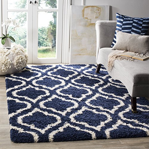 Hudson Shag Collection Navy and Ivory Moroccan Geometric Area Rug (8' x 10') - EK CHIC HOME