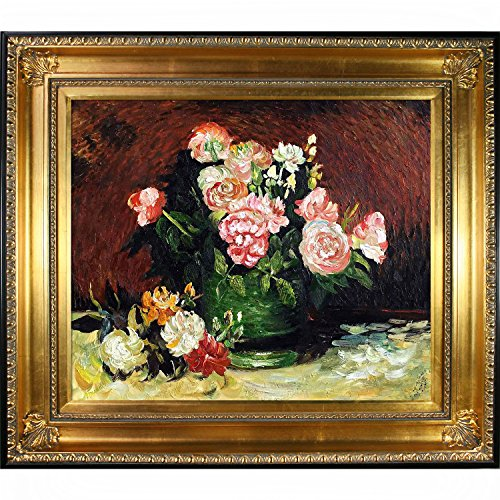Bowl with Peonies & Roses By Vincent Van Gogh Framed Hand Painted Oil On Canvas with Regency Gold Frame - EK CHIC HOME