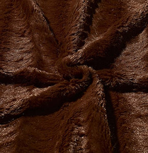 Embossed Faux Fur Throw Blanket & Bedspread - Luxurious Over-Sized Faux Fur Blanket Caramel - EK CHIC HOME