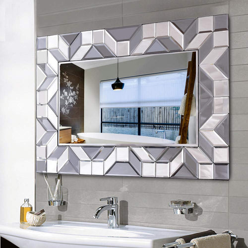 Large Framed Rectangular Bathroom Mirror, Sliver Vanity Glass Wall Make-up Mirror, 36