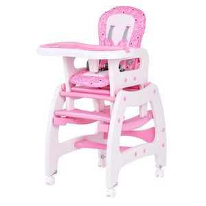 Baby High Chair, 3 in 1 Convertible Play Table Set, Booster Rocking Seat with Removable Feeding Tray, 5-Point Harness, - EK CHIC HOME
