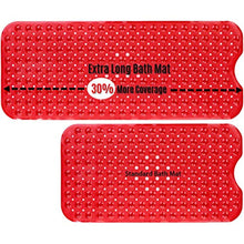 Load image into Gallery viewer, Red Extra Long Bath Mat Adds Non-Slip Traction to Tubs & Showers - EK CHIC HOME