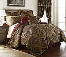 Load image into Gallery viewer, Seville 9-Piece Jacquard Black Gold Maroon Red Medallion Paisley Oversized Comforter Set - EK CHIC HOME
