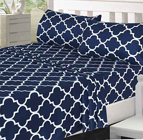 4-Piece Bed Sheet Set (King, Navy) - EK CHIC HOME