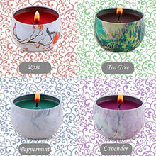 Load image into Gallery viewer, Scented Candles Gift Set - Lavender, Rose, Tea Tree and Peppermint, Candle Soy Wax for Stress Relief and Aromatherapy - EK CHIC HOME