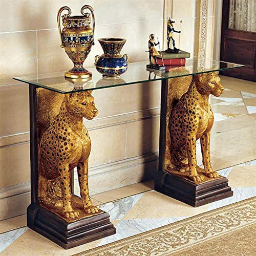 Royal Egyptian Cheetahs Console Table, 55 Inch, Gold - EK CHIC HOME