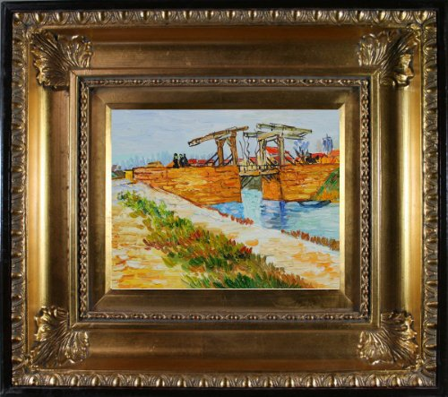 Van Gogh Langlois Bridge at Arles with Road Alongside the Canal with Regency Gold Frame - EK CHIC HOME