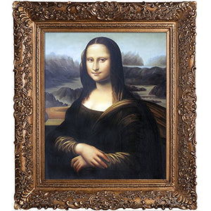 Mona Lisa with Burgeon Gold Frame Oil Painting by Da Vinci - EK CHIC HOME