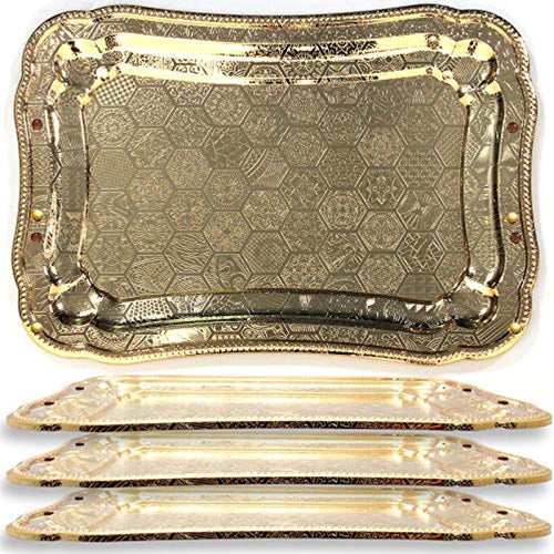 (Pack of 4) Sturdy Heavy Rectangular Iron Gold Plated Serving Tray Floral Edge - EK CHIC HOME