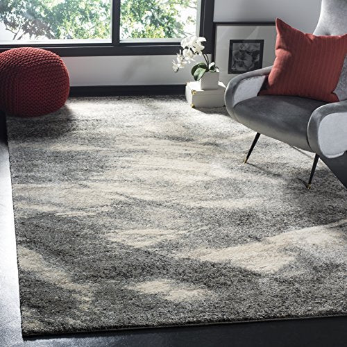 Retro Collection Modern Abstract Grey and Ivory Area Rug - EK CHIC HOME