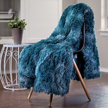 "Load image into Gallery viewer, Fur Sherpa Throw Blanket | Color Variation Marble Print (50"" x 65"") - EK CHIC HOME"