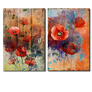 Vibrantly Colored Petunia on a Vintage Wood Background and Abstract Painted Background - Canvas Art - EK CHIC HOME