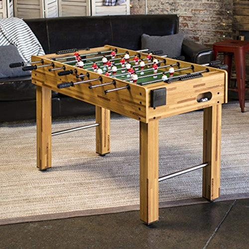 48in Wooden Soccer Foosball Table w/ 2 Balls, 2 Cup Holders for Home - EK CHIC HOME