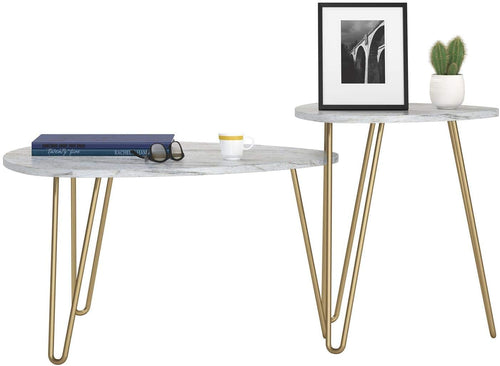 Hairpin MARBLE/GOLD Nesting Tables, White